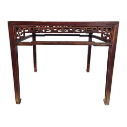 """Used Chinese Antique Rosewood Table - The Seller bought this piece from an Antiques dealer specializing in Chinese pieces about 7 years ago. At the time he said he thought it was over 100 years old. There are intricate carvings along all four sides that give it a ton of visual interest.     Table sits 33.5"""" tall and is 38.75"""" square. Note: this height is slightly higher than a normal dining table, but can be used as a dining table comfortably.  The wood reflects its age (see photos), but is really beautiful.     It's a great size for an apartment, small dining area, or as a focal table for a larger foyer."""