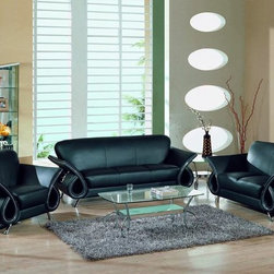 Trevis Black Leather Match Sofa, Global -