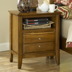 Domusindo - Pecan 'Contemporary Shaker' 2-drawer Charging Station Nightstand - This beautiful pecan-finished night stand is made of warm tropical mahogany wood and is equipped with a 2-outlet in-drawer power strip for easy, clutter-free charging. This two-drawer nightstand is the perfect addition to your master or guest bedroom.