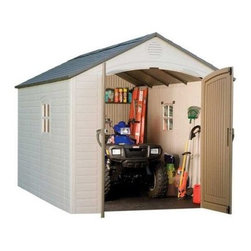 Lifetime 8 x 12 ft. Outdoor Storage Shed - Additional features:Battery-operated light for night time use2 corner shelves for storageTwo 30 x 10-inch shelvesOne 90 x 9-inch shelfTwo 16-inch peg strips with tool hooksExterior dimensions: 7.3W x 12.1D x 8H feetInterior dimensions: 7.5W x 12D x 7.8H feetDoor dimensions: 4.6W x 6.3H feetBoasting 620.6 cubic feet of space, the Lifetime 8 x 12 Foot Outdoor Storage Shed from Lifetime Sheds will prove to be the perfect storage option if you own a riding lawnmower, an ATV, or a snow mobile. Constructed from high-density polyethylene (HDPE) plastic with powder-coated steel reinforcements, this sturdy shed is weather- and- rust-resistant and designed to withstand the harshest elements for years to come. Since this shed is UV-protected and stain-resistant, it requires no painting or sanding. That gives you more free time for the things you enjoy doing. Double doors allow easy access to the inside, while an internal spring latch, interior deadbolts, and an exterior padlock loop ensure the security of your property. Two lockable, sliding windows, five skylights, and two screened vents let in enough natural light, so you can easily make your way around during the day. If you need to visit the shed at night, a battery-operated light will offer adequate illumination. Two corner shelves, two 30 x 10-inch shelves, one 90 x 9-inch shelf, and two 16-inch peg strips with tool hooks allow you to create the perfect storage area to suit your needs. This shed comes with a 10-year limited manufacturer's warranty. Assembly is a weekend project for one or two people. About Lifetime ProductsOne of the largest manufacturers of blow-molded polyethylene folding tables and chairs and portable residential basketball equipment, Lifetime Products also manufactures outdoor storage sheds, utility trailers, and lawn and garden items. Founded in 1972 by Barry Mower, Lifetime Products operates out of Clearfield, Utah, and continues to apply innovation and cutting-edge technology in plastics and metals to create a family of affordable lifestyle products that feature superior strength and durability.