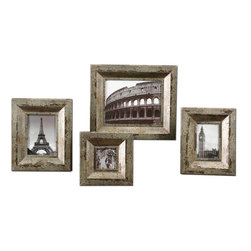 Uttermost - Camber Rustic Photo Frames, Set of 4 - Champagne Silver Finish With Black And Caramel Undertones. Holds Photo Size: 3.5x3.5, 4x6, 5x7, 8x10. Frame Sizes: Sm-8x8x1, Med-9x11x1, Lg-10x12x1, XL-13x15x1