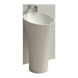 ADM - ADM White Solid Surface Stone Resin Pedestal Sink, Matte - DW-106