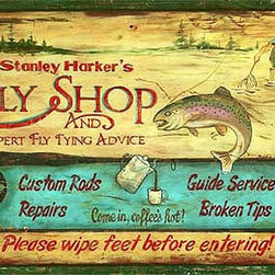 Red Horse Signs - Vintage Signs Harkers Fly Shop - We  call  it  Harker's  Fly  Shop  but  you  can  call  it  after  anyone  you  like  by  changing  Stanley  Harker's  to  the  name  of  your  choice.  Measuring  14x24  this  sign  is  directly  printed  to  distressed  wood  for  a  rustic  style  that  is  weathered  and  timeworn.