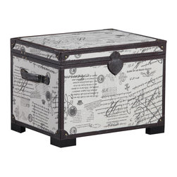None - Linon French Linen Storage Trunk - The French Linen Storage Trunk has a transitional design and style. The linen exterior is accented with brown PU Leathers details and brass nailheads while a snap on the front keeps the lid securely closed.