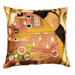 """Modern Silk - Klimt Kiss Silk Throw Pillow Cover Hand Embroidered 18"""" x 18"""" - This Art Silk pillow displays delicate hand work embroidery based on Gustav Klimt's 'The Kiss.' The designer of this embroidery work has done a magnificent job of capturing the popular Klimt style in this decorative cushion, creating an artistic homage to Klimt's 'The Kiss' which rivals any that have come before. The hand embroidery is in silk chainstitch, a finer form of crewel. Vibrant, contemporary colors, classic golds and blacks with touches of green and salmon, will invigorate any chair or seat, and a pair of them will make the entire room come alive."""