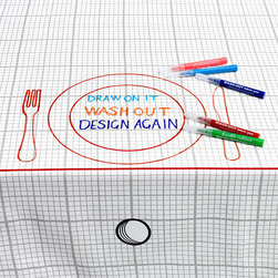 Doodle By Stitch - Doodle Tablecloth - Have fun creating personal place settings and menus for suppers and parties (and leave the pens out for guest comments)! Also brilliant for creative brainstorming sessions…and it all washes out for the next time!