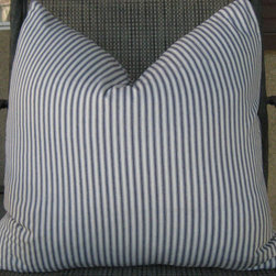 Waverly's Timeless Blue and White Ticking Pillow Covers by Interior Luxuries - This classic ticking stripe pillow brings pattern to a one-color sectional.