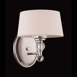 Savoy House Lighting - Savoy House 8-1041-1-109 Murren 1 Light Wall Sconces, Polished Nickel - A Transitional look, combining the best of Traditional and Contemporary styles, with a cleaner, less ornamented design.  The Polished Nickel finish works well with the hardback white fabric shades. This versatile family includes a rod hung three light trestle and an assortment of incredibly unique pendants and bath bars.