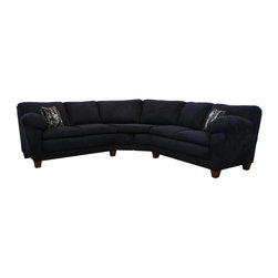 Chelsea Home - Amanda 2-Pc Sectional Sofa in Bulldozer Black - Includes toss pillows. Seating comfort: Medium. Hardwood frame and engineered wood products. Seat cushion is attached. Seat back cushion is attached. Seat cushion is not reversible. No sag sinuous spring system used to maintain a uniform seating area. Dacron wrapped 1.5 density foam cushions. Made from polyester blend and solid kiln dried hardwood. Made in USA. No assembly required. 73 in. L x 35 in. W x 38 in. H (270 lbs.)