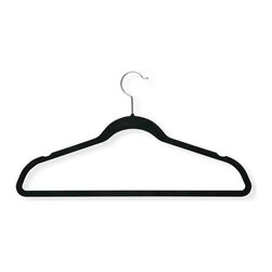 "50-Pack Velvet Touch Suit Hanger, Black - Honey-Can-Do HNG-01884 50-Pack Velvet Touch Suit Hanger, Black. Beautiful, soft, and durable this clothes hanger is contoured to keep shirts, dresses, jackets, and pants perfectly wrinkle-free. Features a  chrome rod hook to hang items easily on any closet rod, towel bar, or standard size door. Durable metal construction provides strength, reliability, and long-lasting beauty. Soft velvet coating is gentle on delicate garments and provides a non-slip surface that holds fabrics beautifully in place. Slim, space-saving design makes the most use of available hanging space with its 1/4"" profile."