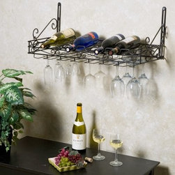 Metro 8-Bottle Wall Mounted Wine Rack - The Metro Wall Mounted Wine Rack will make quite an impact on your kitchen or wine bar without an impact on your pocketbook. A tremendous value this stylish metal wine rack mounts on any wall and stores up to 8 bottles of your favorite wines. Underneath stemware racks provide a handy place to store up to 21 glasses. The wall-mount design makes this wine rack an excellent choice for any room where floorspace is at a premium. Comes with mounting hardware and complete assembly instructions. Simply mount on virtually any wall and enjoy the combination of style and practicality. Go ahead and order yours today.