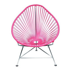 "Innit - Innit Acapulco Chair - Pink Weave on Chrome Frame - ""Relax in cool, contemporary style with this hot-weather Acapulco lounge chair from Innit Designs. Whether enjoying a tropical sunset from the patio or lounging poolside with friends, the chair combines comfort with an eye-catching design. Inspired by the airiness of backyard rope hammocks, the 1940s-style Acapulco lounge chair uses a traditional Mayan weaving technique to create a modern take on the classic woven chair. The chair's waterproof, UV-resistant vinyl cord comes securely wrapped around its recycled, rust-resistant, galvanized-steel frame, which provides a semi-textured polyester powder-coat for long-lasting durability and good looks from one season to the next. The Acapulco lounge chair's woven vinyl not only offers visual appeal and breathability, but also exceptional support and comfort (no cushion needed). The Acapulco lounge chair works well as an accent piece on its own or to create a visiting area when paired with more than one (additional chairs sold separately). Keep all the chairs the same color to complement surrounding decor, or mix it up for a bold, vibrant color scheme that reflects your personal sense of style. The Acapulco lounge chair comes in a vast array of vibrant colors.Dimensions: 30"""" wide by 35"""" deep by 35"""" high with 14"""" sitting heightModern lounge chair with woven UV-resistant vinyl cord for breathability and supportRust-resistant, galvanized-steel frame and semi-textured polyester powder coatWeatherproof, stackable, and easy to cleanPear-shaped frame and tripod base; for indoor/outdoor and residential/commercial use"""