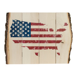 Walnut Hollow - US Flag Map Art Print - Natural bark edge print - no two are alike.  The unique process embeds the image directly into the wood surface, maintaining quality, detail, and resolutions of original image while allowing natural wood grain and texture show through.  Keyholes for easy hanging. *Please note that as in nature, each piece is unique and the appearance and size may vary slightly from photos.  Made in America.