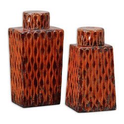 "Billy Moon - Billy Moon Raisa Container X-40591 - These ceramic containers feature a distressed, crackled burnt orange finish with antiqued khaki undertones. Removable lids. Sizes: Small: 6"" x 11"" x 5"", Large: 7"" x 13"" x 5"""