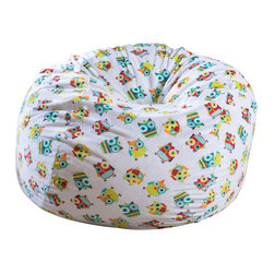 Great Deal Furniture - Ashley 3-Ft Multi-Color Silly Owl Fabric Bean Bag Chair - Lounge in style with the Ashley 3-foot multi-color fabric bean bag. This unique pattern and plush fabric makes this an inviting piece for any child or adult. Its microfiber silly owl pattern fabric is soft to the touch and the colors will pop among almost any decor. Made in the United States with an eco-friendly foam filler, this bean bag offers a luxurious and comfortable option to your in home lounging experience.