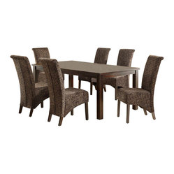Monarch Specialties 7 Piece 78x40 Dining Room Set w/ Swirl Parson Chairs in Dark