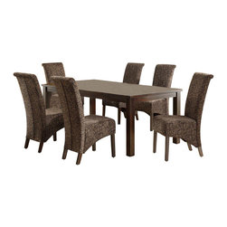 Monarch Specialties - Monarch Specialties 7 Piece 78x40 Dining Room Set w/ Swirl Parson Chairs in Dark - This dining table offers rich design and transitional styling that invites a relaxed setting into your home. Finished in a dark espresso, this clean lined rectangular shaped dining table will create the perfect look for intimate dinners or casual get togethers. This piece features thick block legs and an extension leaf to accommodate all your friends. What's included: Dining Table (1), Side Chair (6).