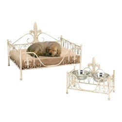 Woodland Imports - Contemporary Elegant Gold Metal Pet Bed with Vintage Design Home Decor - Contemporary elegant curves gold metal Victorian inspired pet bed with vintage design home decor