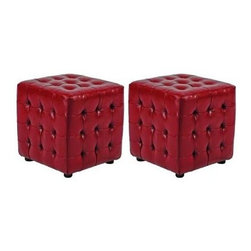 Safavieh - Kristof Ottoman (Set Of 2) - Red - Good things come in pairs. Inspired by the sophisticated plush, tufted furnishings of Park Avenue, the modern Kristof Ottoman (sold in a set of 2) is just as chic an urban loft as suburban family room. Crafted with beech wood legs in black finish, ample foam cushioning, and upholstered in red bicast leather, this creative cube will be the hottest seat in the house.