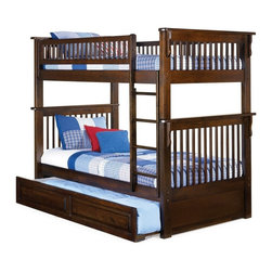 Atlantic Furniture - Colorado Twin Over Twin Bunk Bed with Trundle in Antique Walnut - This bunk bed is designed for those who prefer beautiful, high quality and multi-functional furniture. This bed is equipped with a trundle raised panel design. Also it has 1-inch hardwood long rails, solid Eco-friendly Hardwood 2x4 posts and built in modesty panel.