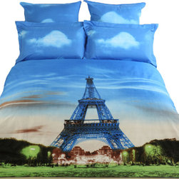 Dolce Mela - Eiffel Tower, 6pc Queen size Luxury Duvet Covet Bedding Set Dolce Mela DM429Q - Decorate your bedroom with this city themed bedding of Eiffel Tower printed on this bedding ensemble and bring yourself to Paris every time you enter your bedroom.