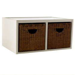 Abbeville Divided Shelf with Baskets - This basket and shelf system can be combined with other units in the line to create a handy clean up station in a kid's room or media area.