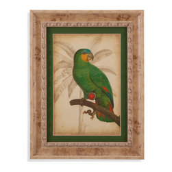 Bassett Mirror - Bassett Mirror Framed Under Glass Art, Parrot and Palm I - Part I of the Parrot and Palm series, this tropical-style print features bright and proud parrot perched upon a branch. Framed under glass in a beautiful 3-inch cream-colored wood frame, this piece's bright reds and greens against the background's soft tan Palm sketch will add a striking feature to almost any room in your home