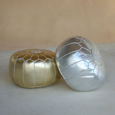 Metallic Leather Pouf - Our striking low poufs in durable metallic leather are handmade in Marrakech, and feature traditional Islamic embroidery patterns. These fun low poufs are great as footstools or as extra seating and their densely packed shredded fabric filling will not collapse when you sit on them!