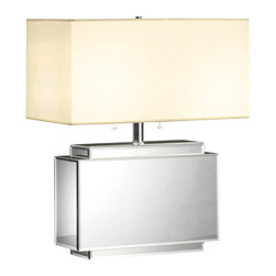 "Crestview - Mirrored Table Lamp - 21""Ht. Rectangular Mirrored Table Lamp with Twin Lights (9x18x9 Rectangle Hardback Shade in White Fabric)."