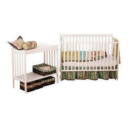 Stork Craft - Stork Craft Milan 2-in 1 Crib and Changer Combo in White - Stork Craft - Baby Crib Sets - 04521001 - With its rich finish and clean lines the Milan 2 in 1 Fixed Side Convertible Crib by Stork Craft will be the ideal harmonizing piece to your babys nursery collection. Included in the bundle is the Milan Changer with plenty of storage for larger items such as diapers wipes and extra clothes. Designed with safety in mind the table has an extra deep surface for added security and stability while changing your baby. As your baby grows you can convert the Milan Crib into a full size bed and use the changer as a shelf to store big kid clothes or toys._� The Milan will last you a lifetime with its well built construction made of solid wood and wood products offered in a variety of durable finishes; it is truly a unique piece. Complete your nursery look by adding a Stork Craft chest dresser armoire or glider and ottoman.