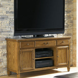 American Drew 114-581W Americana Home Entertainment Unit - American Drew 114-581W Americana Home Entertainment Unit Sku: 114-581WManufacturer: American DrewCollection: Americana Home Series Finish: Warm Khaki Oak Select Items: Weathered White Series Code: 114Product Code: 581WParent Product: 581W Weight: 192Cubes: 23.2C Width: 57.59C Depth: 22.35C Height: 31.21Product Width: 54Product Depth: 19Product Height: 30Notes: Wire management3 DrawersCenter Drawer is Drop down front1 Adjustable Shelf in Center Opening: 20.5 D17.5 H162 Wood Doors w/Glass inserts with 1 Adjustable Shelf behind eachOpening: W13 D17.5 H16
