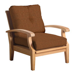 Douglas Nance - Set of 2, Douglas Nance Cayman Deep Seating Club Chairs, Chili - Douglas Nance Cayman has a distinctive casual flair with sumptuous cushions for premium relaxation. The cuts of teak are thick and solid yet the design curves offer a light, island feel. This collection also offers a loveseat and dining options. Includes made-to-order Sunbrella cushion.