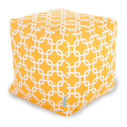 Majestic Home - Outdoor Yellow Links Small Cube - Versatile, casual and fun, beanbag ottoman cubes are great to have around the house for all kinds of impromptu uses, from footstools to extra seating to side tables. With its playful modern style and durable, washable cover, this small patterned cube should work for you just about anywhere you need it, indoors or out. You'll wonder what you ever did without it.