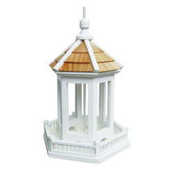 "Home Bazaar - Gazebo Birdfeeder - Single Unit - This classic style is topped with a pine shingled roof and a railing all around. The top cone lifts up along the heavy-duty nylon cord to access the large cavity capable of holding over 2 pounds of seed. The seed tray has drainage holes to allow water to escape. Will handle all types of seed. Item Dimensions: 11"" H x 8.5"" W x 8.5"" D"