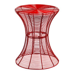 Holly & Martin - Metal Spiral Accent Table, Red - Don't be fooled by the delicate appearance of this whimsy little table — it's built to last, and happy to live outside on the patio or be invited inside the house. Whether you choose a bright candy color or stick with classic black, the laid-back, breezy vibe of this clever accent table is sure to make you smile.