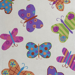 KAS - KAS Kozy Kids 554 Butterflies (Ivory) 5' x 7' Rug - This Hand Tufted rug would make a great addition to any room in the house. The plush feel and durability of this rug will make it a must for your home. Free Shipping - Quick Delivery - Satisfaction Guaranteed