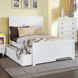 Myhome - Myhome Amanda Collection Panel Bed with Trundle - MYHO047 - Shop for Beds from Hayneedle.com! Bring an exotic North African touch to your boudoir with the Myhome Amanda Collection Panel Bed with Trundle. Crafted of solid wood this bed features a recessed geometric pattern in the headboard and footboard that is reminiscent of mosaics and other artwork from Africa and the Middle East yet the overall impression is distinctly modern. When fitted with a twin mattress the trundle below pulls out to accommodate an extra guest or you can use it without a mattress as storage space. Quality craftsmanship shines in this Amanda Collection bed.Dimensions:Twin: 40W x 80.5L x 52H in.Full: 55.5W x 80.5L x 52H in.Queen: 61.5W x 86.5L x 52H in.About My Home FurnishingsMy Home Furnishings became a reality in June 2013 when three investors in a truly American way pooled their resources and ventured overseas to design develop and import youth and second bedroom furniture for the American consumer. Our focus is to use 100% U.S. designed product combined with the expertise and abilities of quality factories to bring to the American consumer the best value possible in the youth and second bedroom category in the United States. We offer top quality product and a value price with effective and efficient U.S. Management. It's our guarantee to you. Not only will you and your family see a difference but you won't be happier with another company. We have collectively over 95 years experience in the furniture industry and that's given us a chance to make sure that our quality and service is up to a standard that others just can't compete with. Which also means that it's a quality you'll not only see but you'll appreciate it.