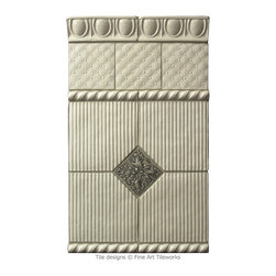 Fine Art Tileworks - 2x6 Egg & Dart, 4x4 Antique Quilt specialty field tiles, 3/4x6 Old World Bead liners, 6x6 Stately Field specialty field tiles (clipped) all in Ivory. 3x3 Oak Leaves in Safari. All our tiles are hand pressed and hand glazed.