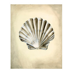 Seashells IV Unframed Giclee with Crackle Finish - Coordinate a room with ease when you choose neutral artwork like the upscale simplicity of Seashells IV. This attentive portrait of a flawless scallop shell captures the soft shadows that fall over its natural corrugations, enclosing the attractive nature study within darkened edges on a parchment-colored backdrop. The low-key palette contributes to a sense of stately restraint.