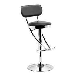 ZUO MODERN - Proof Barstool Black - The Proof Barstool is a modern classic with its elegnat swooping shape.  It has a leatherette seat and back with a chrome height adjustable swivel base.