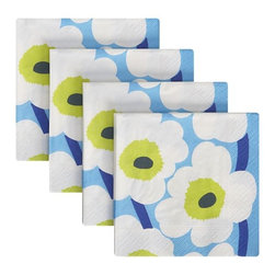 Marimekko Unikko Blue and Green Paper Beverage Napkins - Don't forget the cocktail napkins for appetizers or drinks. These add so much personality to the night.