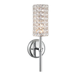 """Vienna Full Spectrum - Crystal Cylinder 16"""" High Chrome Wall Sconce - Brighten your bathroom walls and line your mirrors with this glitzy crystal sconce. A cylinder curtain of crystals wrapped around a single halogen bulb makes for a sparkling addition to your home. Chrome finish hardware completes the shining style. From Vienna Full Spectrum. Chrome finish. Clear crystals shaped into a cylinder. Includes one 60 watt G9 halogen bulb. 16"""" high. 4 3/4"""" wide. Extends 4 3/4"""" from the wall. Backplate is 4 3/4"""" wide.  Chrome finish.  Clear crystals shaped into a cylinder.   Includes one 60 watt G9 halogen bulb.  16"""" high.  4 3/4"""" wide.  Extends 4 3/4"""" from the wall.  Backplate is 4 3/4"""" wide."""