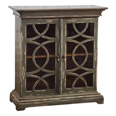 Uttermost Duran Distressed Console Cabinet - Solid mahogany cabinet finished in hand distressed, glazed charcoal over aged white undertones.  Clear glass doors with wooden fretwork encase a honey-stained mahogany interior with adjustable shelf. Solid mahogany cabinet finished in hand distressed, glazed charcoal over aged white undertones. Clear glass doors with wooden fretwork encase a honey-stained mahogany interior with adjustable shelf.