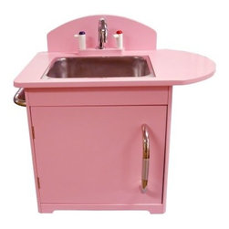 Dexton Retro Kids Sink - The pretty pink color and retro design of this kid sink will make your playroom a fun and inviting place for your children. The Retro Kids Sink features a realistic faucet with pretend cold (blue) and hot (red) levers. The stainless steel sink can be removed when it needs a real washing and the side towel bar can hold rags or hand towels for authentic kitchen play. The cabinet makes the perfect spot for storing play dishes. Your children will fall in love with the authentic look of this kid-sized appliance and you will appreciate the child-safety ventilation holes and the rounded kid-safe edges. Set a whimsical mood in your child's playroom with the Retro Kids Sink. Order yours today. About DextonDexton has been manufacturing distinguished high-quality children's musical instruments and ride-ons for over 10 years. Located in the Orange County area of Southern California its factories produce 50 of the most popular musical instruments to professional standards that music teachers prefer. Dexton also produces a wide assortment of battery-powered and pedal car ride-ons as well as children's furniture. Dexton uses the highest-quality wood leather and chrome-plated steel when manufacturing its safe kid-friendly products.