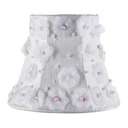 Jubilee Collection - Chandelier Shade - Petal Flower -White - Material: silk, metal. 3 x 5 x 4 in.