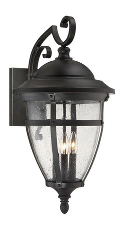 Savoy House Lighting - Savoy House Lighting 5-5052-3-213 Dillon Traditional Outdoor Wall Sconce - Light the way home and do it well with the Dillon outdoor wall lanterns from Savoy House. Highly-textured clear seeded glass and a handsome English Bronze finish with gold accents make Dillon an excellent choice.