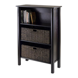 Winsome - Winsome Liso Storage shelf with 2 Large Baskets in Dark Espresso - Winsome - Storage Cabinets - 92728 - Get organized with this convenient shelf and basket set from Winsome.  Use the included baskets or use it as a display shelf or bookcase.