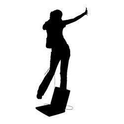 Wallmonkeys Wall Decals - Silhouette with Clipping Path Teen Girl Dancing Wi Wall Decal - 72 Inches H - Easy to apply - simply peel and stick!