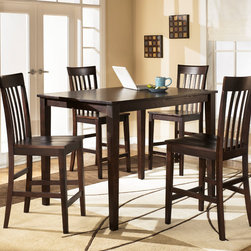 Signature Design by Ashley - Hyland Counter Table Set - A gorgeous cherry finish adds a rich,timeless look to this contemporary table and chairs set. Made of durable wood,this beautifully modern set is the perfect addition to any home dining room.