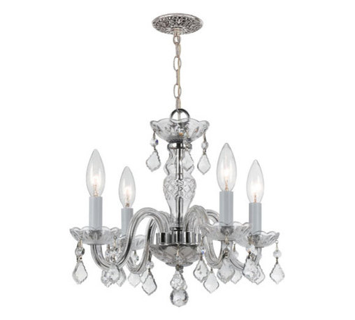 Crystorama Lighting Group - Traditional Polished Chrome Four-Light Chandelier with Clear Hand Cut Crystals - - Traditional crystal chandeliers are classic, timeless, and elegant. Crystorama's opulent glass arm chandeliers are nothing short of spectacular. This collection is offered in a variety of crystal grades to fit any budget. Crystorama Lighting Group - 1064-CH-CL-MWP